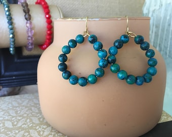 Small Blue Hoop Earrings