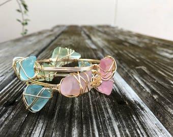 Sea Glass Stackable Bracelets