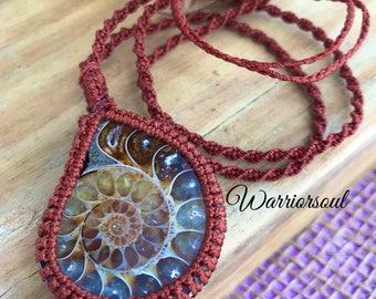 Ammonite Macrame Necklace