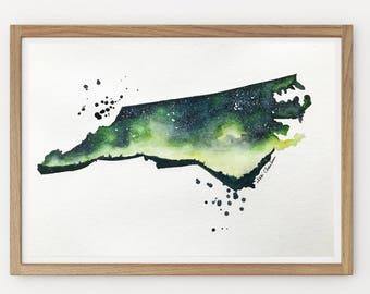 North Carolina Map, Original Watercolor Painting, Galaxy, State map Print, Illustration, Modern art, Long Distance, Holiday Christmas Gift