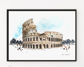 Colosseum painting, Italy art, Cityscape painting, Rome Print, Housewarming gift, Illustration, Travel art, City art, Art Poster, Gift ideas