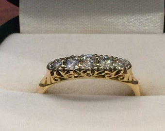 5-Stone Diamond Half-Hoop Ring in 18k Yellow Gold. Total diamonds' weight:0.50ct