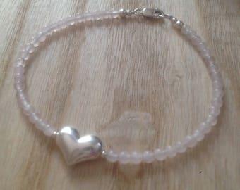 rose quartz bracelet, gemstone bracelet, silver puffy heart, bridesmaid gift, stone of love, sterling silver, 18th gift, 21st gift, wedding