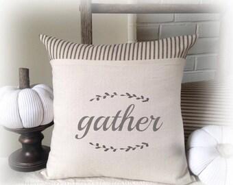 Gather, Gather Pillow, Thanksgiving, Pillow Cover, Autumn