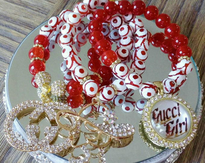 Designer Inspired Orange, White and Gold Rhinestone Ladies Charm Bracelet Set, anniversary gifts, birthday gifts, mother's day gifts