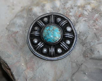 Brooch, vintage brooch, turquoise brooch, antique silver brooch, sterling silver brooch, Israel silver jewelry (V231)