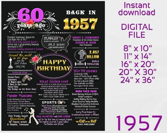 60th Birthday Chalkboard Sign, USA events 1957, 60 years ago, Birthday Gift, Remember 1957 What Happened Birthday Decor DIGITAL FILE d2-5
