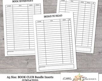 "A5 Size ""BOOK CLUB"" Planner Insert Bundle"