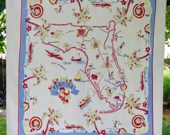 vintage Florida map tablecloth/souvenir map tablecloth