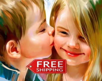 """Custom Oil Portrait from your Photo - Hand Painted Oil Portrait on Canvas Size:11""""x14"""" '-Free Shipping"""