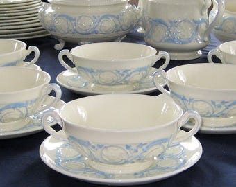 Wedgwood Patrician - Kingston Blue - Handled Soup Cups and Saucers (12pcs)