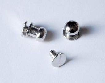 8mm - 10 pcs small silver colored brass screw neck knob for leather work and cardboard