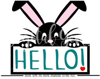 Rabbit hello Easter svg / dxf / eps / png files. Digital download. Compatible with Cricut and Silhouette machines. Small commercial use ok.