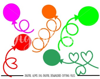 Balloon svg / dxf / eps / png files. Digital download. Compatible with Cricut and Silhouette machines. Small commercial use ok.