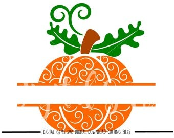 Split Swirly Pumpkin svg / dxf / eps / png files. Digital download. Compatible with Cricut and Silhouette machines.