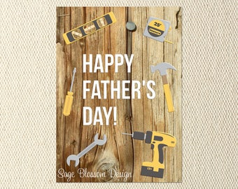 "Printable Fathers Day Card - ""Happy Father's Day"" - Handyman Tools- Instant Download - Digital"