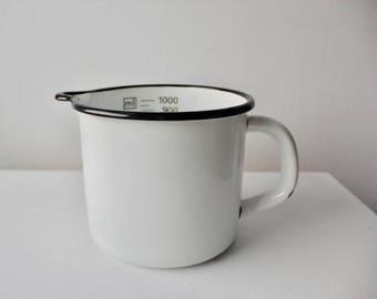 Vintage White Enamel Measuring Cup with Black Rim