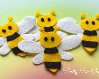 Bumble Bees, felt bees, craft insects, honey bees, felt shapes, pretty die cut craft embellishments,