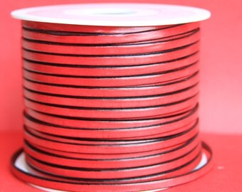 MADE in EUROPE 1 yard of 5mm flat leather cord, genuine red leather 5mm strip, flat red 5mm leather cord (221/05/27)