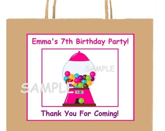 18 Personalized CanDy party stickers,GumBalL,birthday, bag box labels,favors,tags,candy theme,supplies,shower,custom made