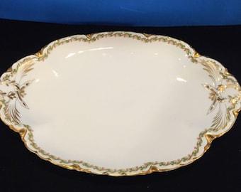 Antique Haviland Limoges Clover and Shamrock Platter Trimmed in 24K Gold
