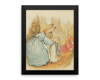 Mother Rabbit and Bunnies Framed Poster, Beatrix Potter Peter Rabbit Framed Art Print