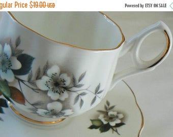 ON SALE Royal Dover China Teacup, Bone China Tea Cup, English Tea Cup, Apple Blossoms Teacup, Gold Gilt