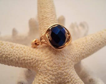 Sapphire Ring, September Birthstone, Wrapped Sapphire Ring, Birthstone Ring, September Birthstone Ring, Sapphire Birthstone