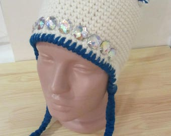 Сrochet hat with ears and stones, white cap for girls, hand made