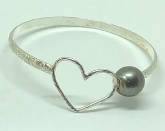 Sterling silver Heart Hawaiian Heirloom bracelet