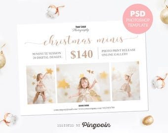Mini session template. Holiday minis. Christmas session. Marketing board template. Social media board. Editable Photoshop PSD file. MS027