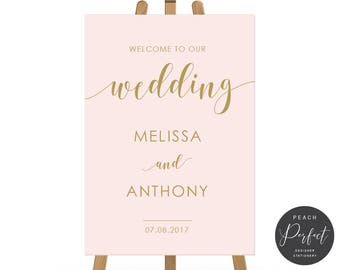 Blush Pink and Gold Wedding Welcome Sign, Modern Calligraphy Wedding Sign, Free Colour Changes, DIY Printable We Print, Sweet Blush
