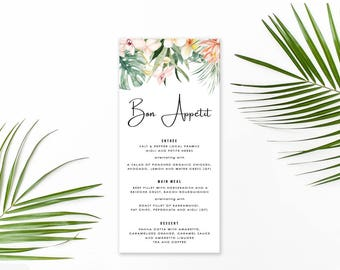 Wedding Menu, Custom Printable Menu, Tropical, Monsteria, Floral Wedding, Tropical Flower, DIY Wedding, Print Your Own, Kimberley Suite