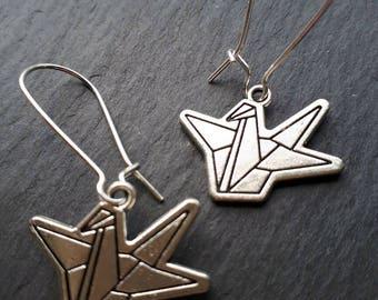 Unusual Origami Swan Earrings