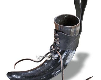 Natural Cow Horn Medieval Drinking Cup with Leather Frog