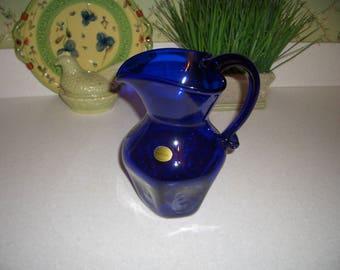 Cobalt Blue Hand Blown Art Glass Pitcher...Shelton Glass Works...Williamsburg, VA