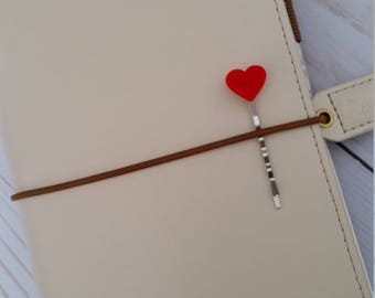 Velvet Heart Planner Pin / Decorated Bobby Pin