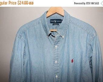 SALE 90s Ralph Lauren Chambray Shirt XL Soft Cotton 50 Chest Grunge Button Down Faded