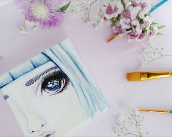 Eyes painting, Face, 4x4 acrylic painting, Small canvas, Art, Home decor, Office decor