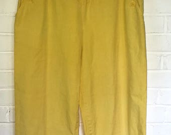 Vintage 1980's Yellow Cotton Pants / size 10/ by Casablanca