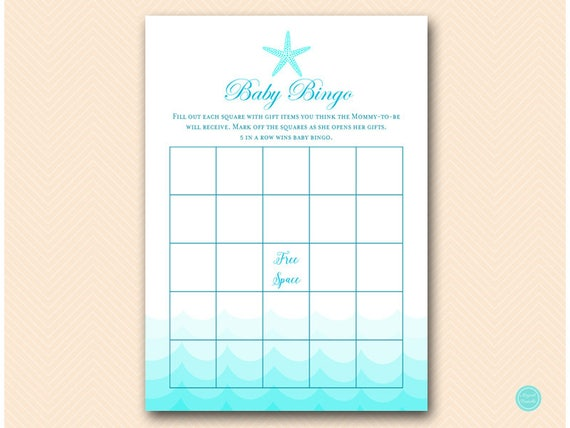 Baby Shower Gift Bingo Printable ~ Bingo baby shower gift bingo cards beach baby shower games