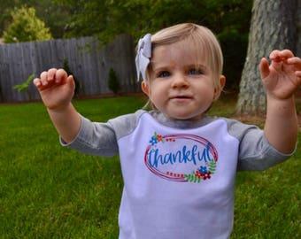 Thankful girls thanksgiving fall raglan shirt