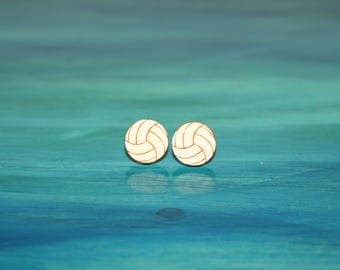 Wooden Volleyball Earrings