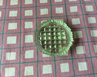 Green pressed glass pin dish