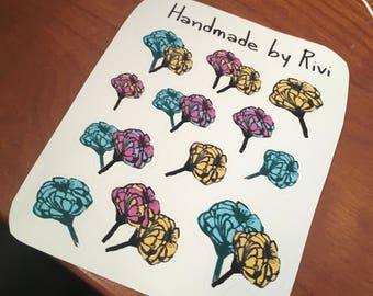 Hand Drawn Flowers Sticker Sheet
