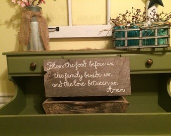 Distressed Bless the food before us, the family beside us, and the love between us. Amen White Wash Wooden sign