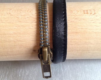 Bracelet two laps EKLAIR closure and leather