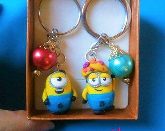 Minions desplicable me Handmade keychain hanmade polymerclay