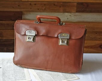 Vintage Leather School Bag - Distressed  Leather Bag - Brown Leather Messenger Bag - Briefcase Folio Document Bag - Antique Mens Leather Bag