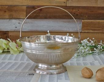 Vintage EP Brass Bowl - Vintage India H.B.C. EP Brass Silver Platted Bowl with Handle - Hudson Bay Company Bowl